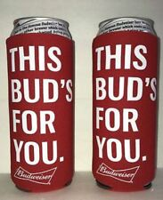 New Lot of 2 Budweiser 25oz Beer Koozie Coolie Cooler fits 24 Oz Bud Light Can