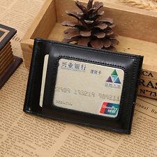 Men's Genuine Leather Credit Card Case ID Pocket Slim Mini Wallet Black Holder