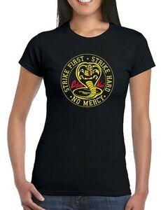 Cobra Kai Karate Kid T-shirt Women Roud Kobra No Mercy Retro 80s Martial Top Gif
