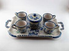 Servizio caffè a 6 pezzi decorato a mano in ceramica di Caltagirone