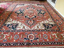 New listing 9 x 12 Top Quality Veg Dye Indo Caucasian Heriz Serapi Ushak Antique Design