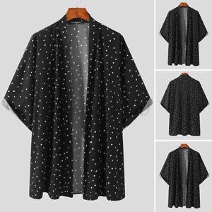 Men's Japanese Floral Yukata Kimono Cardigan Casual Loose Open Front Coat Shirts