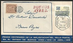 Argentina 1958 Centenary FDC with facsimile Buenos Aires stamp tied