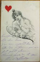 Playing Card Postcard 1902 Queen of Hearts Woman, Artist-Signed