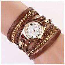 Wrap Around Brown Leather Bracelet Quartz Wrist Watch Fashion Women's