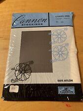 Cannon Seamless Mesh Stockings/Nylons- Smoke Pearl - Size 11M Long 1 pair J15