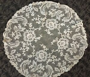 Antique Vintage Net Lace Round Vanity Boudoir Tray Doily