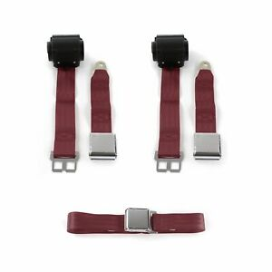 Ford 1957 - 1959 Airplane 2pt Burgandy Retractable Bench Seat Belt Kit - 3 Belts