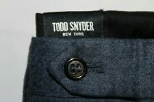 TODD SNYDER NY Made in USA 32 X 29 Natural Stretch Flannel Wool Blue Pants