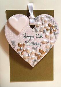 21st Birthday Keepsake Heart On A Greetings Card Personalised