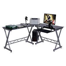 L-Shape Computer Desk PC Glass Top Laptop Table Workstation Corner Home Office