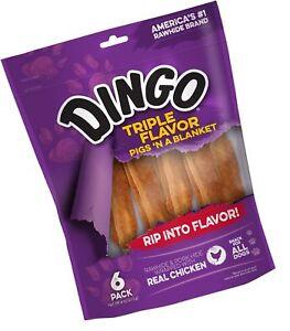 Dingo Triple Flavor Pigs 'n a Blanket Dog Treats 6- Count