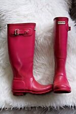 Hunter Talla 3 Original Wellingtons Wellies Alto Rosa tirar de festival de verano