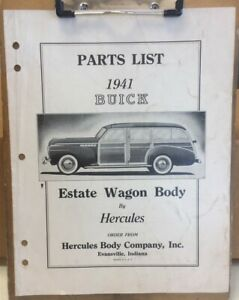 PARTS LIST for 1941 BUICK ESTATE WAGON BODY by HERCULES BODY CO catalog station