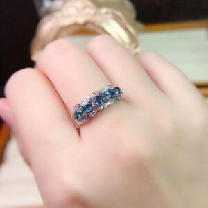 2Ct Oval Cut London Blue Topaz Half Eternity Engagement Ring 14K White Gold Over