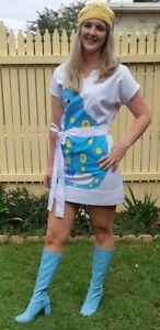 Abba blue 'Cat' inspired costume mini dress, white, cotton/polyester, size 12