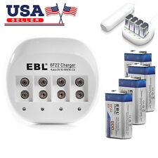 4x EBL 600mAh Li-ion 9V Rechargeable Batteries + 9 VOLT USB Battery Charger USA