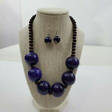 Wood Beaded Necklace Blue Brown Big Statement Earrings Set Tribal Ethnic