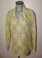 Leichte Sommer Bluse Marke Ulla Popken Gr 44 46 weiß gelb gemustert II23