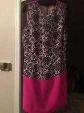Rebecca Taylor Sz 2 Lovebird Shift Dress Pink Bird Print Silk Sleeveless