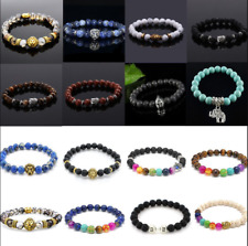 Hot Men Women 8mm Lava Rock Chakra Beads Elastic Natural Stone Agate Bracelets