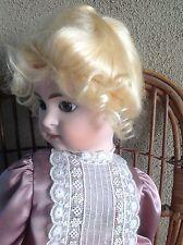 "Doll Wig, Dianna 13-14"" Honey Blonde, English mohair.Stylish braided & Tendrils"