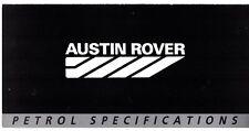 Austin Triumph Rover Petrol Specifications 1987 UK Market Foldout Brochure Mini