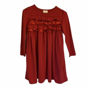Girls HANNA ANDERSSON  Red Ruffle Ribbon Dress SIZE 130