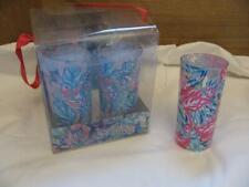 NEW LILLY PULITZER Styrene Plastic Printed Glasses Set of 4, 19 oz Flamingos