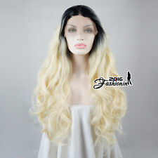 """22"""" Daily Ombre Black & Blonde Curly Long Women Lace Front Wig Heat Resistant"""