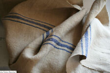 3,22 yards Vintage European HEMP LINEN fabric blues stripes