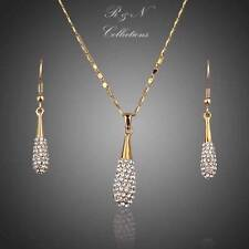 18K Gold Plated Made With SWAROVSKI Crystal Water Drop Earring Pendant Set S238