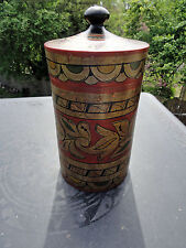 Antique Russian Toleware Humidor Cannister Painted Box Folk Art Russia