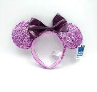 Disney Parks Party Cute Purple Bow Sequins Mickey Minnie Mouse Ears Cos Headband