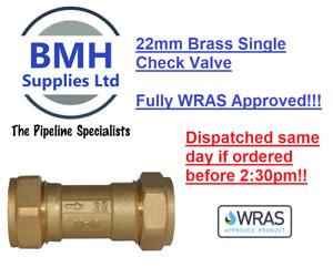 22mm Brass Single Check Valve Compression NON Return Valve. WRAS! Free Delivery!