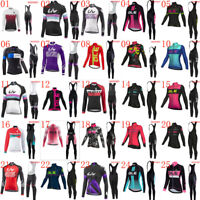 Womens Long Sleeve Cycling Jersey Bib Pants Set Bicycle Clothing Bike Sport Wear