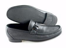 R - Men's SALVATORE FERRAGAMO 'Geneva' Black Leather Loafers Size US 10 - 2E