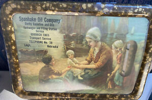 Spanhake Oil Company Thermometer Vintage Framed Mother 3 Kids Old Leigh NE Boats