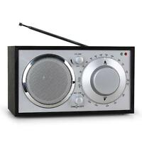 VINTAGE LOOK RETRO NOSTALGIE RADIO TUNER AUX BOX SENDER HOLZ UKW EMPFANG SCHWARZ