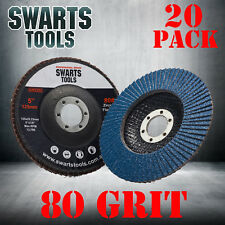 20 x  Abrasive 5'' 125MM Metal Sanding Flap Discs Angle Grinder Wheels 80 Grit