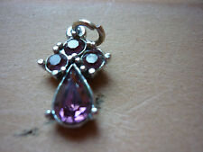 SILVER TONE PURPLE CRYSTAL ANGEL PENDANT VERY SWEET