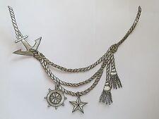 "#2369S 10""x8"" Silver Trim Fringe,Marine Anchor,Rope,Star,Wheel Applique Patch"