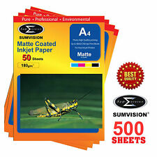 500 SHEETS SUMVISION MATTE COATED A4 INKJET PRINTER PHOTO PAPER 180GSM 5760DPI