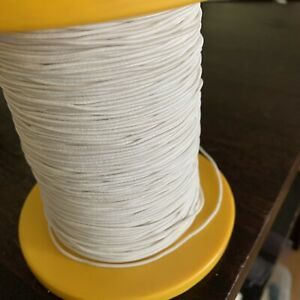 1mm X 3 Mtr White Round Hat Elastic, Smocking Beading ,  Woven Covered 3 Cord