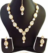Indian Bollywood Bridal Gold Tone Silver Kundan Traditional Fashion Jewelry Set