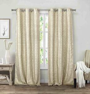"Set of Two Beige-Mocha Grommet Window Curtain Panels: Linen look, 84"" Length"