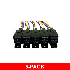 5 PACK 12 VOLT 30/40 AMP 5-Pin SPDT Automotive Relay with Wires Harness Sockets