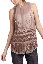Beaded Altitude Tunic Top Evening Blouse By Moulinette Soeurs Anthropologie Sz 4
