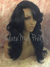 100% Human Hair Blend Swooped Bang Deep Middle Part Loose Curls Lace Front Wig