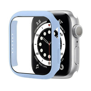 Tempered Glass Film Case fr Apple Watch Series 7 45mm 41mm Matte PC Bumper Cover
